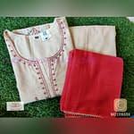 Omior Pure Chanderi Embroidery Work Kurti Set