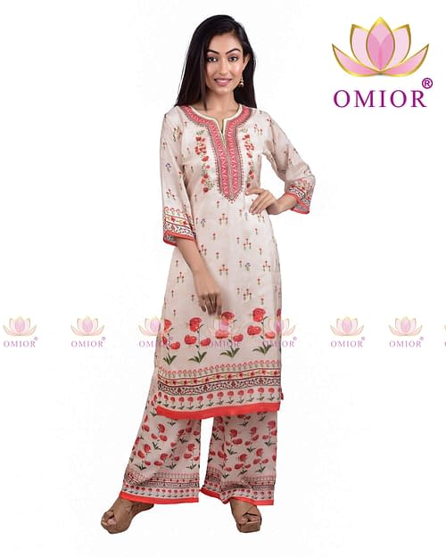 Omior Pure Cotton Floral Printed Kurta...