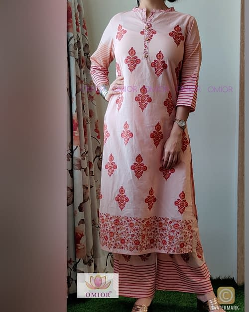 Omior Pure Cotton Block Printed Suit with Palazzo