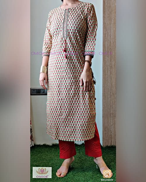 Omior Pure Cotton Printed Kurti Set