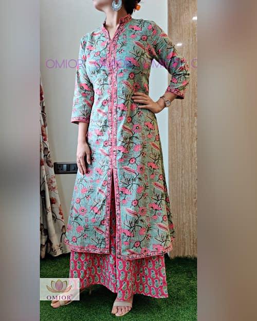 Omior Pure Cotton Block Kalamkari Printed Cotton Suit