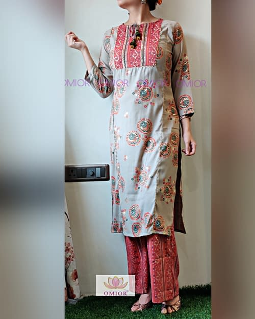 Omior Cotton Linen Bandhej Kurti Set