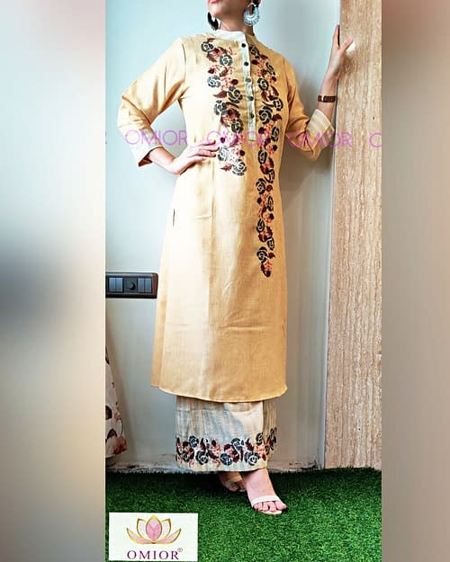 Omior Cotton Embroidered Kurti Set