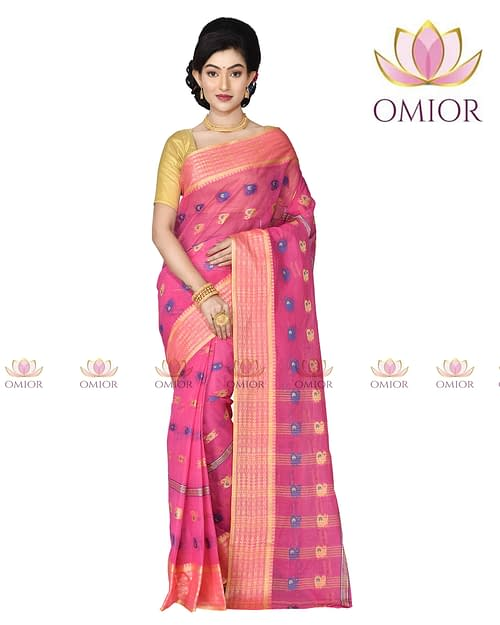 Omior Designer Pure Cotton Tant Saree