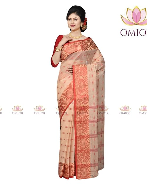 Omior Pure Cotton Tangail Saree Beige