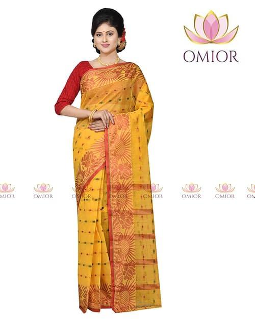 Omior Pure Cotton Tangail Saree Yellow