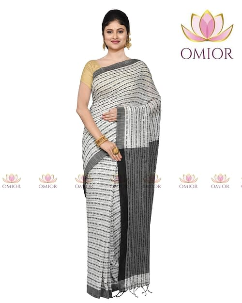 Omior Pure Cotton Lenin Cotton Saree...