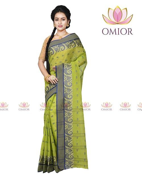 Omior Designer Tant Bengali Cotton Saree Floro Green