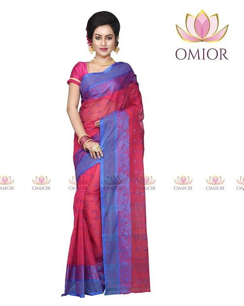 Omior Designer Tant Bengal Cotton Saree Rani