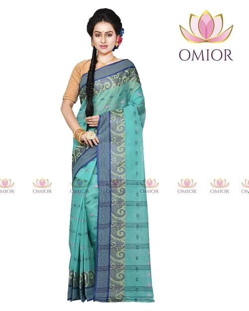 Omior Designer Tant Bengali Cotton Saree Indigo