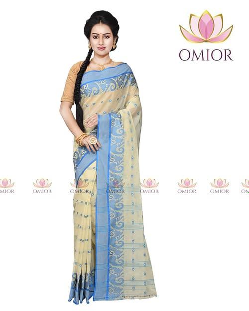 Omior Designer Tant Bengali Cotton Saree Beige