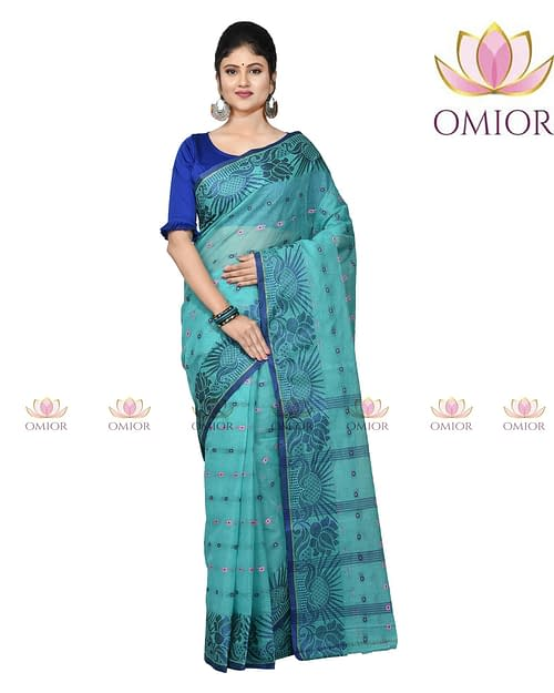 Omior Pure Cotton Tangail Saree Indigo