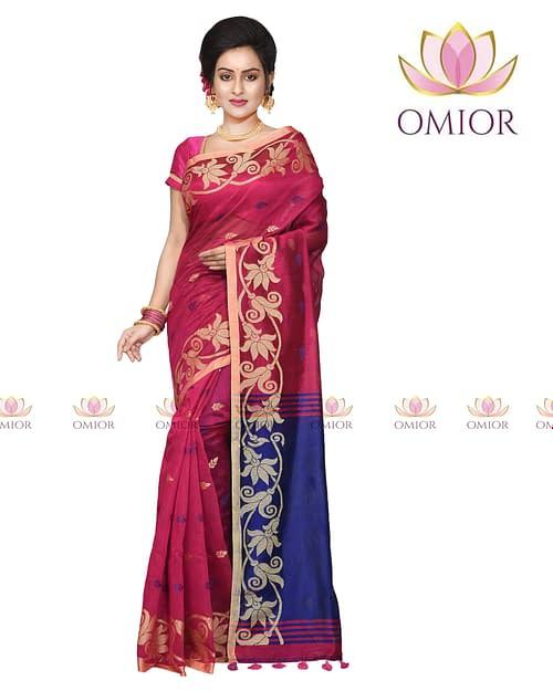 Omior Designer Maroon Handloom Silk...