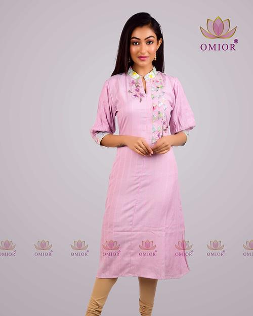 Omior Pure Cotton Pink Designer Kurta