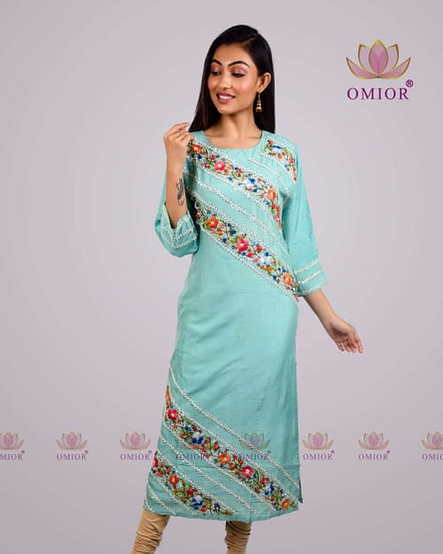 Omior Pure Tussar Silk Chikankari Kurta