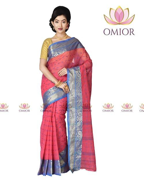 Omior Designer Tant Bengal Cotton Saree