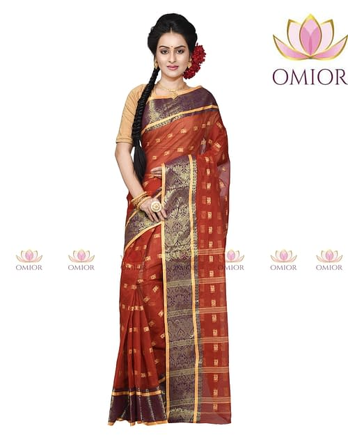 Omior Pure Cotton Tant Saree Brown