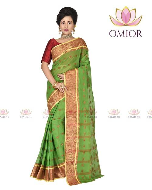 Omior Pure Cotton Tant Saree Green