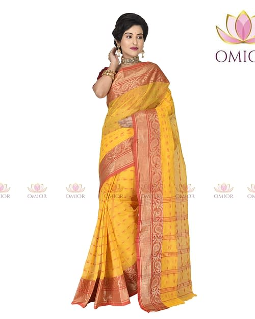 Omior Cotton Handloom Saree Online Yellow