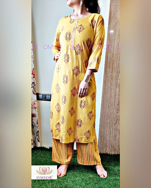Omior Gota Highlighted Yellow Kurta...