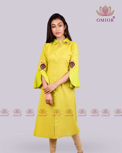 Omior Pure Linen Floral Embroidered...