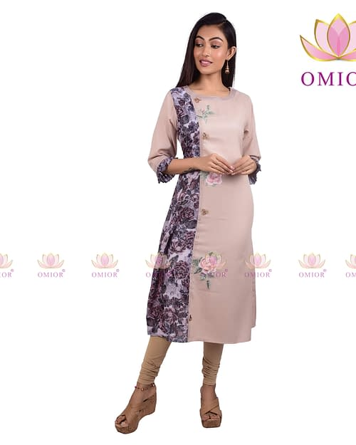 Omior Linen Cotton Digital Floral Embroidered...
