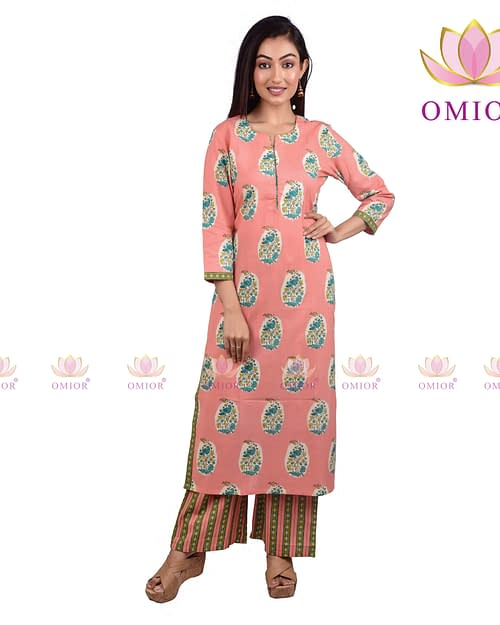 Omior Pure Cotton Handblock Kurta Set