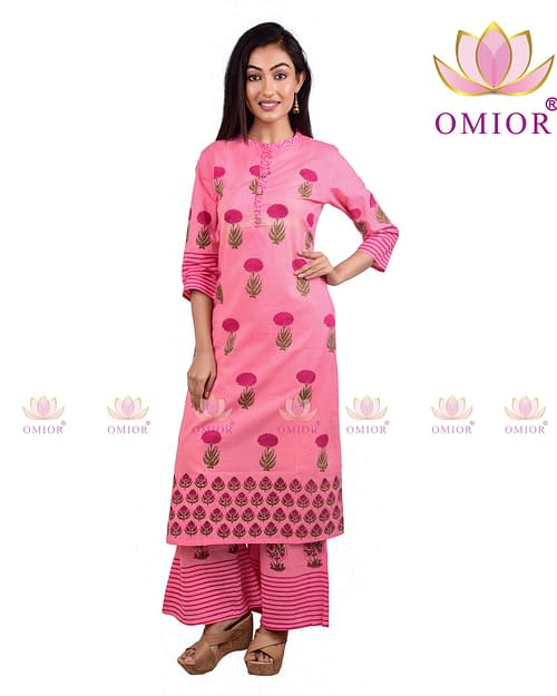 Omior Pure Cotton Block Printed Kurti...