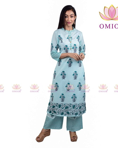Omior Pure Cotton Block Printed Suit...