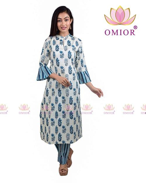 Omior Pure Cotton Block Printed Kurta and Palazzo