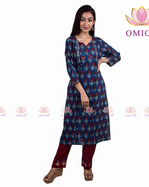 Pure Cotton Linen Block Print Kurti