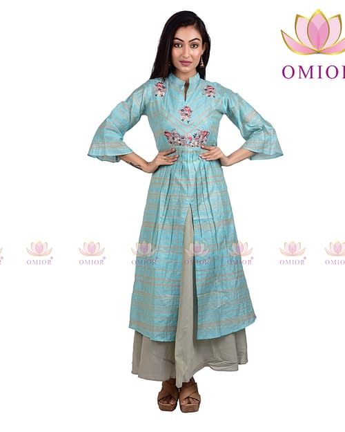 Omior Pure Cotton Embroidered Gown