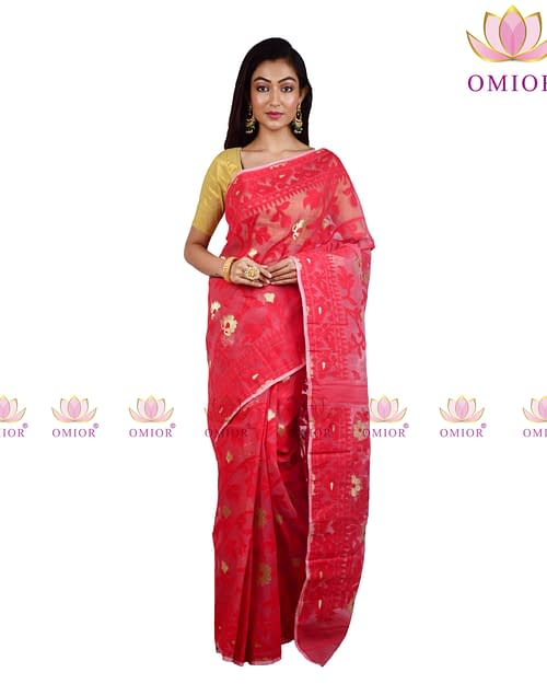 Adorable Red Jamdani Saree 0100