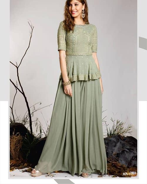 Best Pure Georgette Chikankari Gown 1