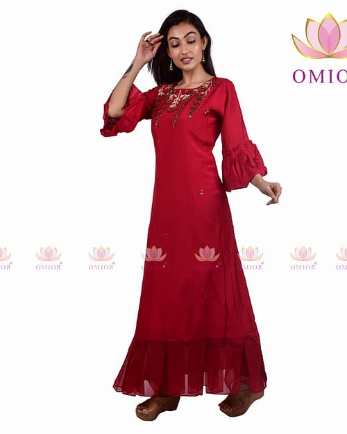 Pure Musleen Hand Embroidered Gown