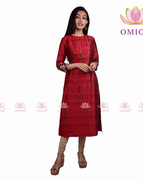 Pure Raw Silk Omior Embroidered Kurti