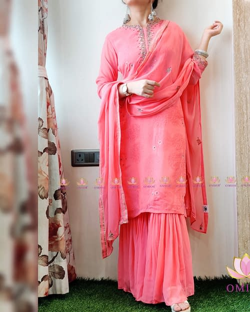 Omior Designer Georgette Sharara Set