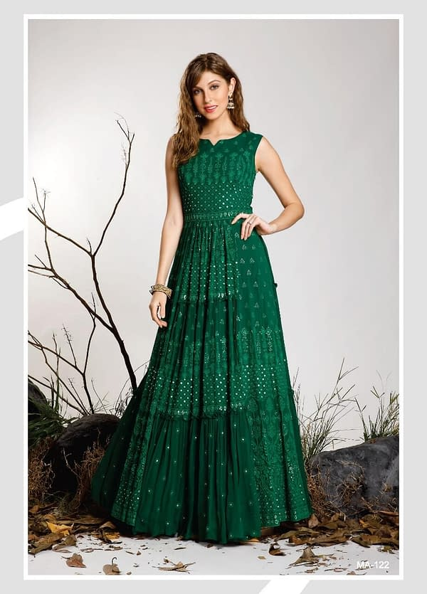 CHIKANKARI SEQUENCE GOWN