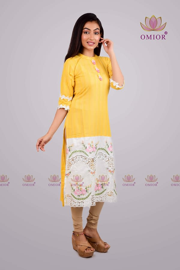 pure cotton cross stitch work kurta