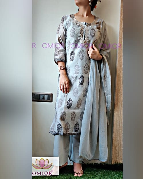 hand block kurti with Dupatta