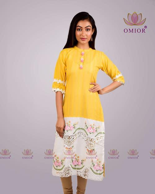 pure cotton cross stitch work kurta