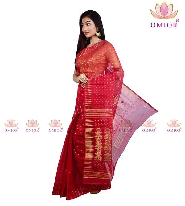 Red Dhakai Jamdani Saree Price